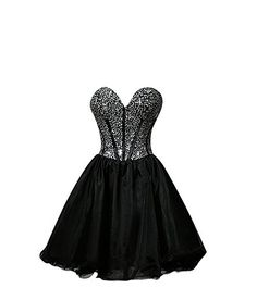 MissFox Women Sweetheart Neckline Rhinestones Cocktail Party Prom Dress XXL Black >>> Find out more about the great product at the image link.