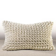 Chauran Madrygal Ivory Rosette Luxury Feather and Down Filled Lumbar Pillow (12x21), Beige Off-White, Size Specialty (Cotton, Embroidered)