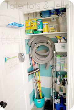 What a great idea -- a pretty and organized closet for all of your cleaning supplies #storage #organization | From Jen of Tatertots & Jello