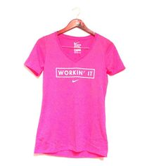"""Pink Nike Dri-fit Tee """"Workin' it""""  Dri-fit Hot Pink  No Trade ✅ Accepting Offers Nike Tops Tees - Short Sleeve"""