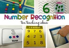 "Kindergarten often begins with teaching students to recognize numbers.  Here are 10 effective ways to teach them to your students! Number Books Have students create their own number books. Creating a book of their own will give them ownership of something that they can ""read"" again and again to help them learn their numbers. Provide pages that include the numerals you are working on. Allow the students to create the set using bingo dabbers, stickers, or pictures. Click Here to download this…"