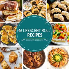 A comprehensive list of crescent roll recipes including ideas for breakfast, appetizers, dinners and desserts! A can of crescent roll dough is a versatile ingredient that can be transformed into so many different culinary delights. Crescent Roll Appetizers, Crescent Roll Pizza, Crescent Roll Recipes, Crescent Rolls, Dinner Rolls Recipe, Easy Dinner Recipes, Appetizer Recipes, Breakfast Appetizers, Dessert Recipes