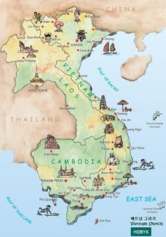 map of Vietnam, Laos, Cambodia.... so much inspiration was born here! - Double click on the photo to get a #travel itinerary to #Vientiane at www.guidora.com