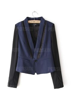 One Button Color Block Slim Blazer [FFBI0241]- US$ 39.99 - PersunMall.com