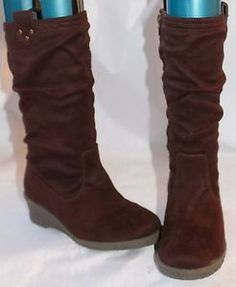 Size 2 Girls Womens Knee high brown wedge boots Marks & Spencer