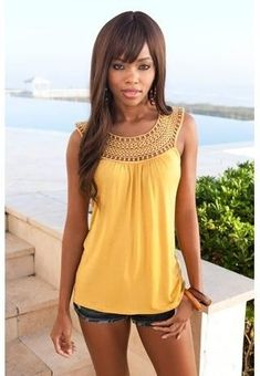 Easy way to convert an oversized t-shirt with cool crochet! crochet yoke tank by cleo