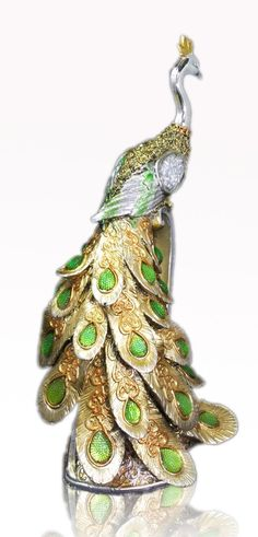 Peacock Collectible golden figurine - Crafted beautiful, extravagant, bejeweled peacock photo 2 of 5