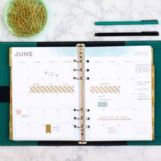 2 Page Monthly Spread in inkWELL Press A5 Planner Inserts