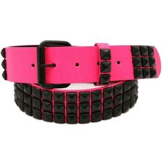 Hot\ Topic Three Row Hot Pink Black Pyramid Stud Belt ($20) ❤ liked on Polyvore featuring accessories, belts, pyramid stud belt, hot pink belt, fake belts and buckle belt