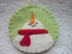 Felt Snowman Ornament Penny Rug Applique Christmas Tree. $12.75, via Etsy.