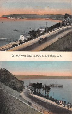 Nice C.1910 To U0026 From Boat Landing Sea Cliff LI NY Multi View Post Card