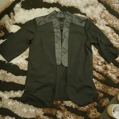 Labworks (Target) Vegan Leather Ponte Jacket Worn once - new condition. Vegan Leather across top and shoulders, down front lapels and back shoulders/ collar. Rich ponte jacket. Longer (tunic length) . So chic and fun! labworks Jackets & Coats