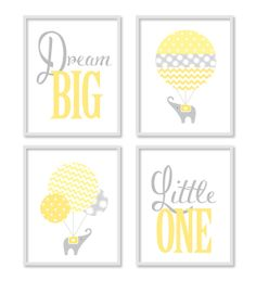 DESCRIPTION Dream Big with this happy and cheerful elephant wall art collection. The elephants float up into the skies on their big adventure