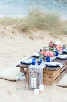Beach wedding picnic
