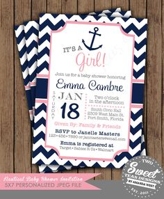 Nautical Girl Baby Shower Invitation Chevron Sprinkle Sip n See Birthday Party Card Digital Printable DIY
