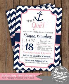Nautical Girl Baby Shower Invitation Chevron Sprinkle Sip n See Birthday Party Card Digital Printable DIY