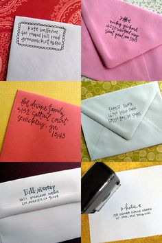 Handlettered return address stamps via Lettergirl.  Love.