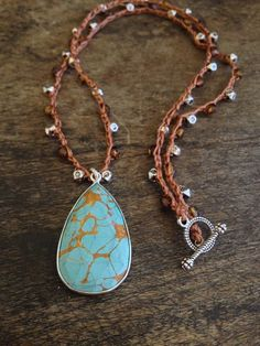 "Turquoise Sterling Silver Vermeil Pendant Crochet Necklace ""Beach Boho"" $50.00"