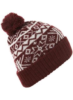 Burgundy Patterned Beanie