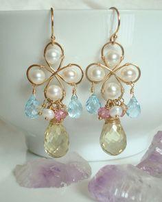 Lemon Quartz Chandelier Earrings  The Golden by emarcidorchid, $279.00