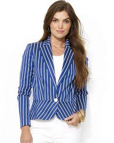 Lauren Ralph Lauren Single-Button Striped Peplum Blazer on shopstyle.com