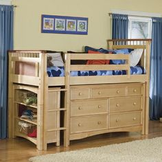 Bennington Twin Loft with Storage Options in Natural Rosewood. but so childish