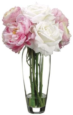 Rose, Peony and Ranunculus Bouquet in Glass Vase, Pink and White, Home Office…