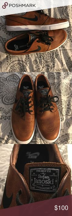 Nike SB Zoom Stefan Janoski Elite Shoes NEW! Tan/brown leather Nike shoes, Size 12. In amazing condition, practically brand new, seriously worn once, no scuffs or marks! Clean and fresh look. Nike Shoes Sneakers