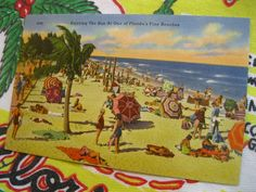 Vintage Florida souvenir postcard -  Enjoying the Sun at one of Florida's Fine Beaches - 1940s linen postcard