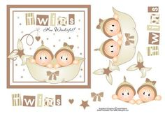 """Twins Card Topper  on Craftsuprint designed by Janet Roberts - This cute topper features a girl and a boy twin and is in trendy neutral shades. It will fit on the front of a 6 x 6"""" Card Blank. Easy decoupage to build up with foam pads or silicone glue - Now available for download!"""