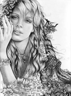 Realistic Pencil Portrait Mastery - Learn How To Draw Realistic Pencil Portraits Colouring Pages, Adult Coloring Pages, Coloring Books, Poster S, Pencil Portrait, White Art, Mother Nature, Amazing Art, Art Drawings