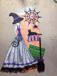 Halloween Tag swap 2014 that I made. Prima Paper Dolls, Prima Doll Stamps, Vintage Paper Dolls, Halloween Tags, Halloween Crafts, Fall Paper Crafts, Alien Drawings, Dollar Store Crafts, Artist Trading Cards