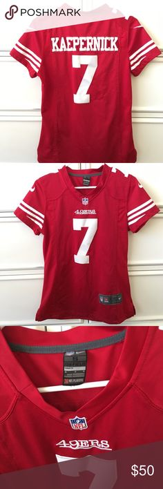 NFL San Francisco 49ers Kaepernick jersey Gently used. Great condition. No fading no damage. Authentic women's jersey. Size small. San Francisco 49ers NFL authentic team jersey. Tops
