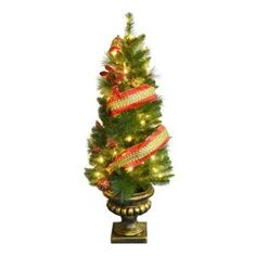 pre lit porch artificial christmas tree with holiday shimmy ribbon at the home depot mobile