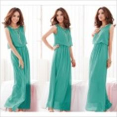 LY3-3 Fashionable Bohemia Style Beach Holiday Long Chiffon Dress - Grass Green
