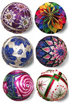 """Temari by Marcia Nehemiah ~ Temari or """"embroidering the surface of a ball."""", is an ancient artform originating in China (8th century) & adopted by the Japanese (13th century). At first only the female servants of ladies in the Samuri class made temari, embroidering designs with silk thread on balled-up scraps of silk from old kimonos. By the 19th century, the craft spread & women made temari as toys for their daughters. In Japan, temari were used as charms & the designs had symbolic meaning."""