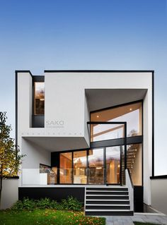 Contemporary Fireplace Windows contemporary garden Contemporary House contemporary architecture home. Modern House Facades, Modern Architecture House, Interior Architecture, Interior Design, Best Modern House Design, Small House Design, Minimalist House Design, Villa Design, Facade Design