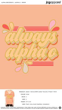 Alpha Omicron Pi Summer Shirt | Sorority Summer Shirt | Greek Summer Shirt #alphaomicronpi #aopi #aoii #aop #Summer #Shirt Alpha Omicron Pi, Custom Design Shirts, Sorority And Fraternity, Summer Shirts, Bella Canvas, Colorful Shirts, Screen Printing, V Neck T Shirt, Greek