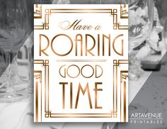 "Gatsby Roaring 20's Printable Art Gatsby Wedding Art Deco Party Sign - ""Have A Roaring Good Time"" Sign - ADBR1 by ARTAVENUEPRINTS on Etsy"
