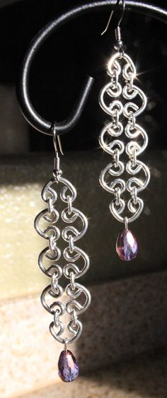 tear drop chain maille earrings