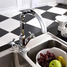 two handles kitchen faucet--brass metal material polishing UPC sink kitchen tap faucet