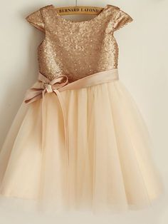 Princess Knee-length Flower Girl Dress - Satin / Tulle / Sequined Short Sleeve Scoop with - USD $69.99