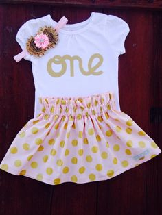 """Pink and Gold polka dot baby girl appliquéd """"one"""" birthday outfit"""