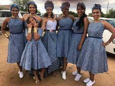 Shweshwe bridesmaid dresses 2019 - style you 7 African Bridesmaid Dresses, African Wedding Attire, African Attire, African Wear, African Dress, Ankara Dress, South African Traditional Dresses, Traditional Wedding Dresses, Traditional Outfits