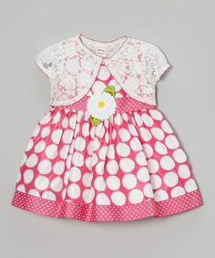 Take a look at this Pink & White Polka Dot Flower Dress & Shrug - Toddler & Girls by Youngland on #zulily today!