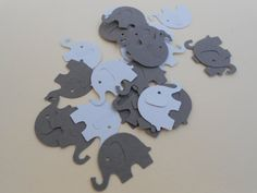 Baby Shower Confetti 100 Elephant Blue and Grey by PartyPaperPlace