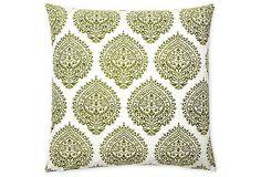 Falguni 20x20 Cotton Pillow, Green on OneKingsLane.com