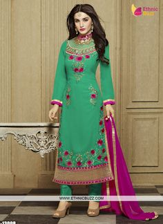 Buy unique collection of anarkali designer salwar suits online in india, usa, uk, canada. Buy this excellent faux georgette designer straight salwar kameez for festival, party and wedding. Indian Salwar Suit, Churidar Suits, Indian Sarees, Pakistani, Latest Salwar Kameez, Salwar Kameez Online, Party Suits, Party Wear, Kurta Style