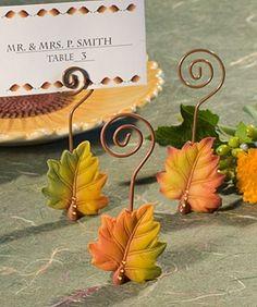 Inexpensive Autumn Leaf Fall Wedding Place Card Holder Favors! affordableelegancebridal.com