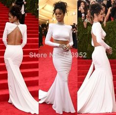 2015 Latest Met Gala Rihanna White Dress Jewelry High Neck Twp Piece Backless Mermaid Celebrity Dresses Red Carpet Dress(China (Mainland))